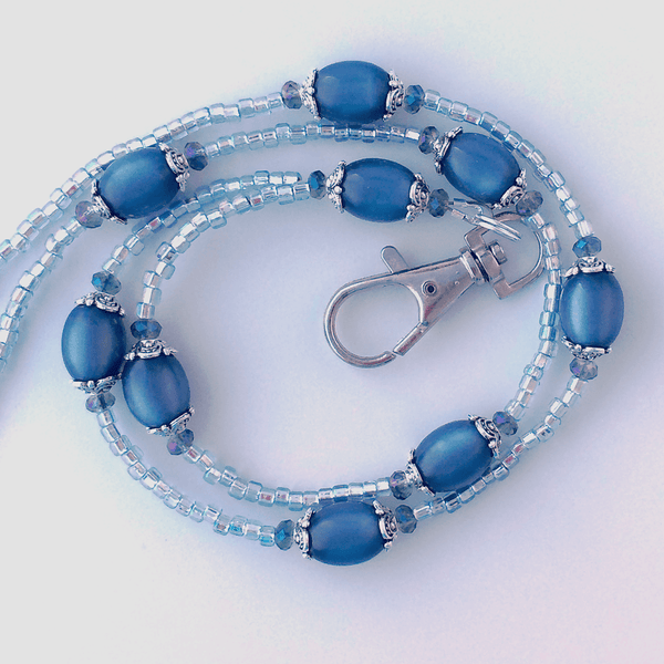 Blue Beaded ID Badge Lanyard - Sapphire Blue Moonglow Vintage Beads - Plum Beadacious -3