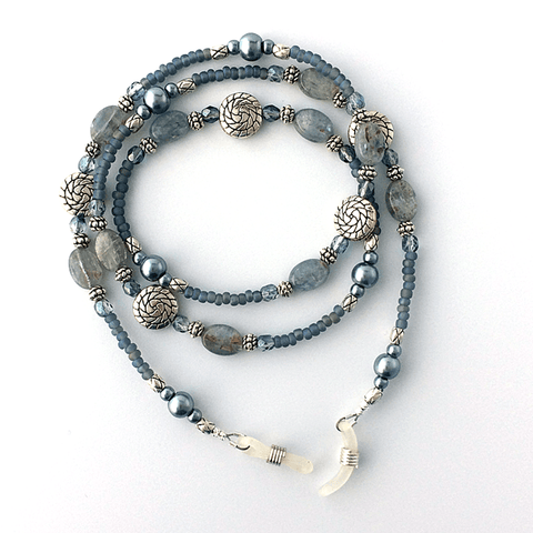 Blue Kyanite Beaded Eyeglass Chain - Plum Beadacious