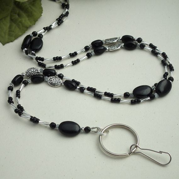 Black and Silver Beads and Crystals Beaded ID Badge Lanyard - Plum Beadacious