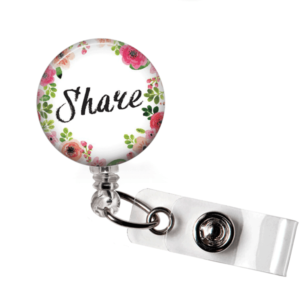 Inspirational Badge Reel -Share - Floral Wreath Edged ID Badge Holder - 377 - Plum Beadacious