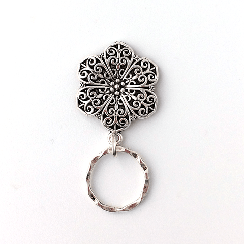 Magnetic Eyeglass Holder -Silver Filigree Cabochon - EH01