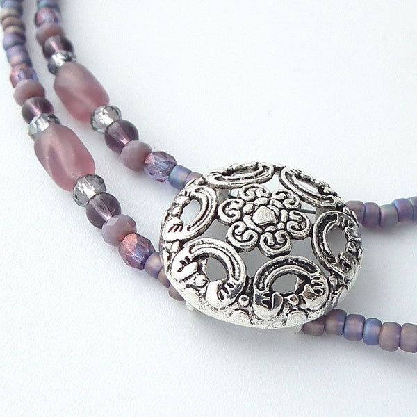 Plum Purple Beaded ID Lanyard - Purple Glass Beads, Czech Glass Crystals, Silver Slider and Beads - Plum Beadacious  - 2
