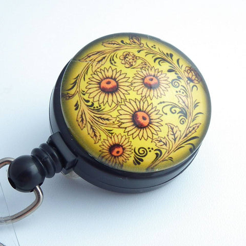 Magnetic Badge Holder - Sun Flower Design Photo Glass on Black Badge Reel- Flower Badge Reel -222 - Plum Beadacious  - 1