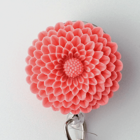 Pink Chrysanthemum Badge Reel - Plum Beadacious