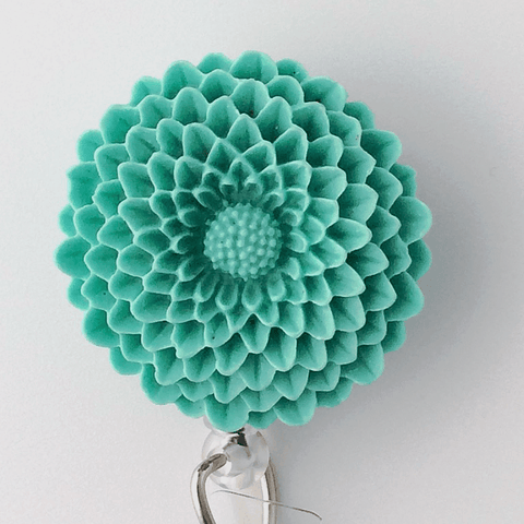 Green Blue Chrysanthemum Badge Reel - Plum Beadacious