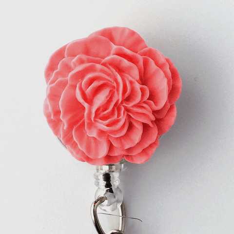 Pink Flower Badge Reel - Plum Beadacious