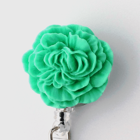 Green Peony Flower Badge Reel - Plum Beadacious