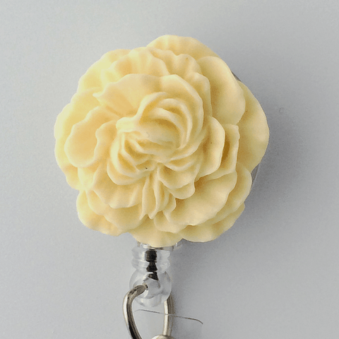 Ivory Cream Peony Badge Reel - Plum Beadacious