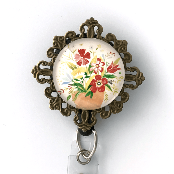 Flowers on Antique Brass Filigree ID Badge Holder - Flower Badge Reel - 352