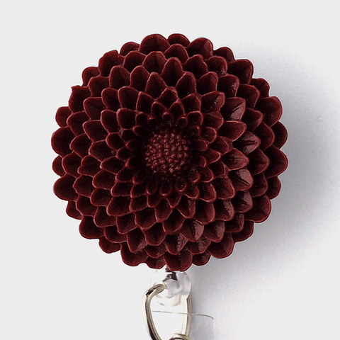 Burgundy Chrysanthemum Badge Reel - Plum Beadacious