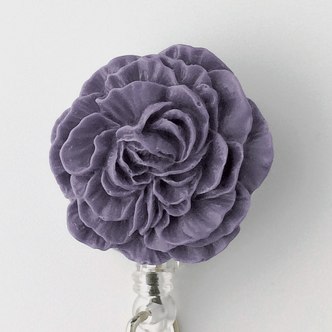 Purple Peony Badge Reel - Plum Beadacious