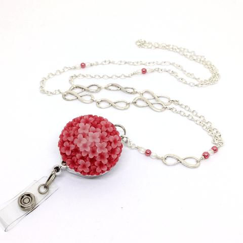 Coral Resin Flower with Infinity Loops - Silver Chain ID Badge Lanyard - Plum Beadacious  - 1