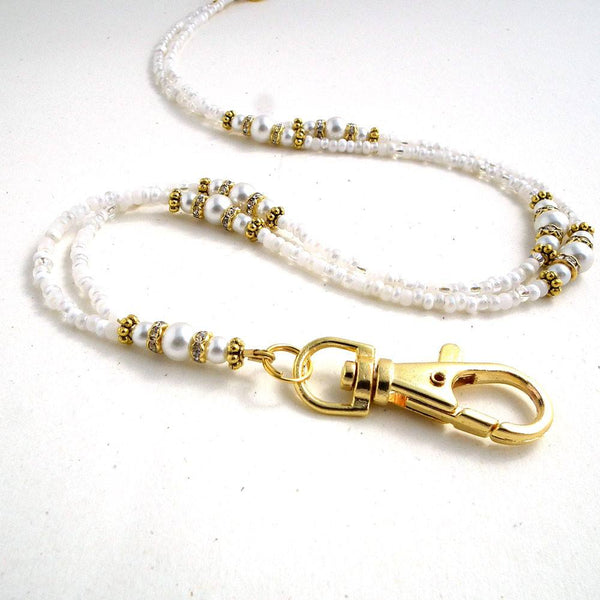 Custom Order for Jan - Beaded Lanyard - White Pearls, Crystal Rondeles, Gold Spacers - Plum Beadacious