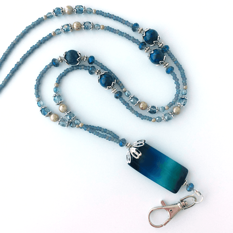 Blue Agate Beaded ID Badge Lanyard