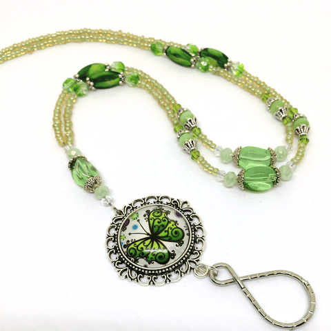 Spring Green Butterfly Beaded ID Badge Lanyard with Silver Filigree Pendant and Glass Dome Cabochon - Plum Beadacious  - 1