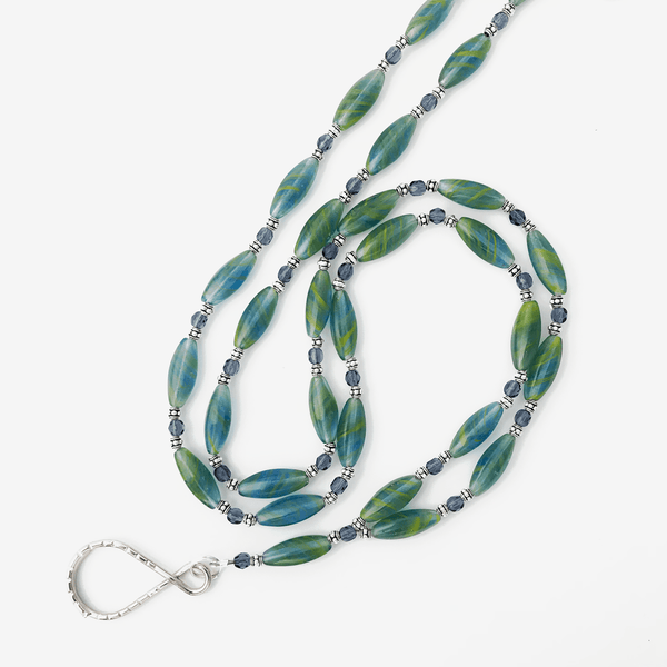 Green Blue Bead ID Badge Lanyard - ID Necklace - Plum Beadacious