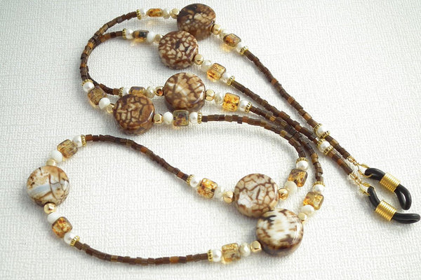 Beaded Eyeglass Chain - Round Disc Brown Beads, Gold Plated Beads, Dark Brown Seed Beads Reading Glasses Holder - Plum Beadacious