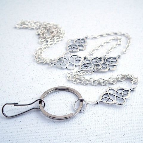 Classic Silver Chain ID Badge Lanyard, Celtic Silver Beads