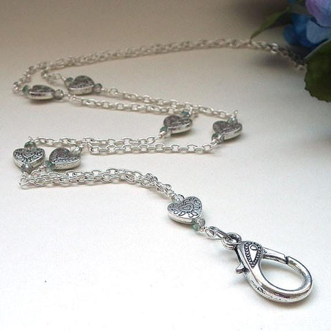 Simple Silver Heart Chain ID Badge Lanyard, Crystals - Plum Beadacious