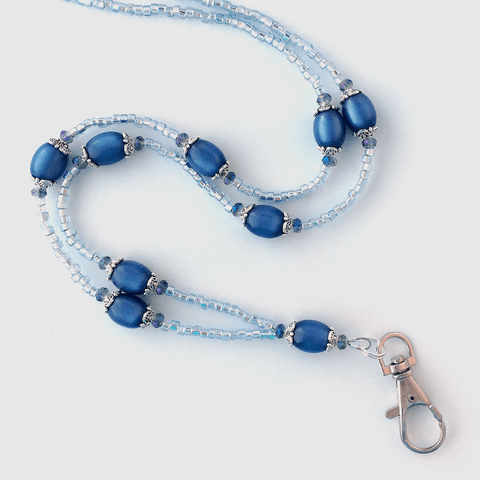 Blue Beaded ID Badge Lanyard - Sapphire Blue Moonglow Vintage Beads - Plum Beadacious