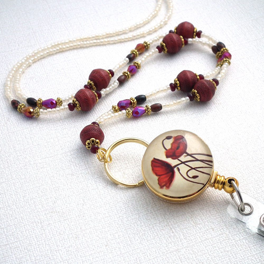 Beaded Lanyard/Badge Reel - Marsala Beads, Poppies on Photo Glass Badge Reel - Plum Beadacious