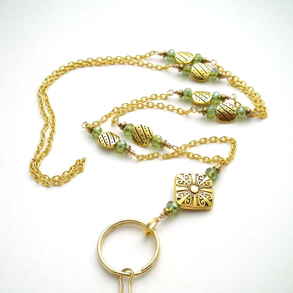 Gold Plated Chain ID Badge Lanyard with Green Crystal Rondells and Gold Plated Rondells - Plum Beadacious