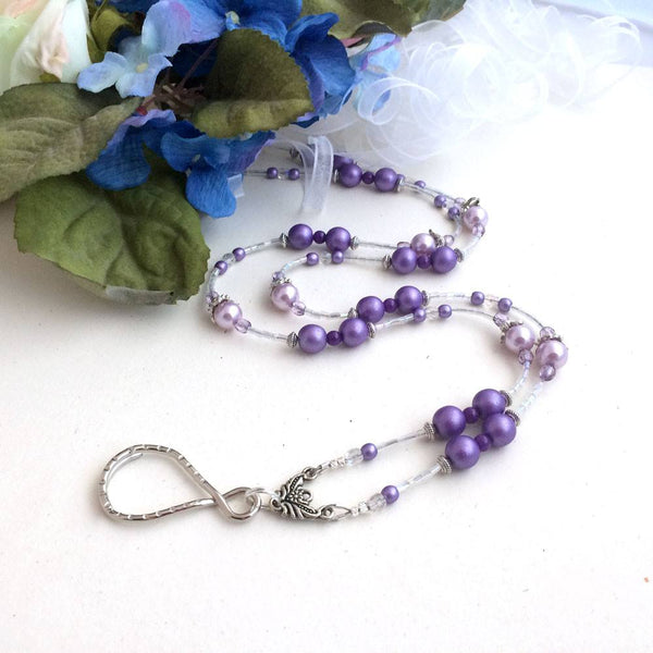 Purple Czech Satin Beaded Lanyard with Pale Pink Pearls, Crystals, and Silver Pewter - Plum Beadacious