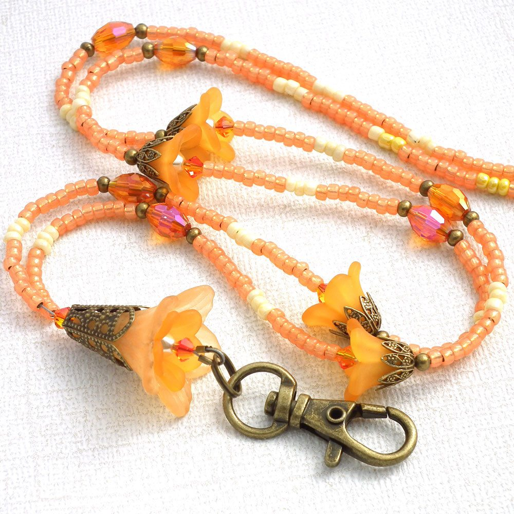 Beaded ID Badge Lanyard, Orange Lucite Flowers Antiqued Brass - Plum Beadacious