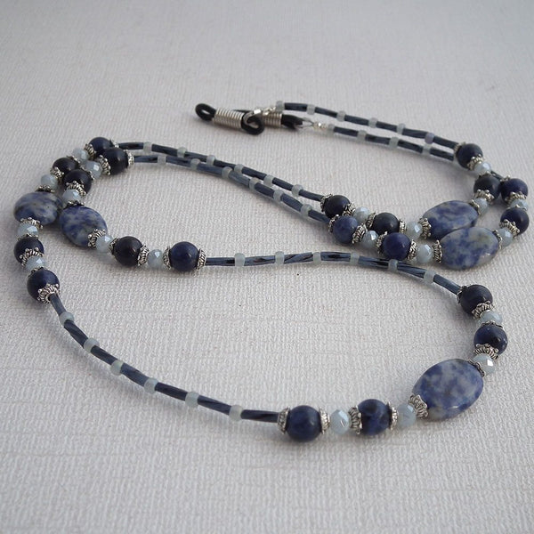 Blue Sodalite Bead Eyeglass Chain - Reading Glasses Holder for Seamstress, Beader, Knitter - Plum Beadacious