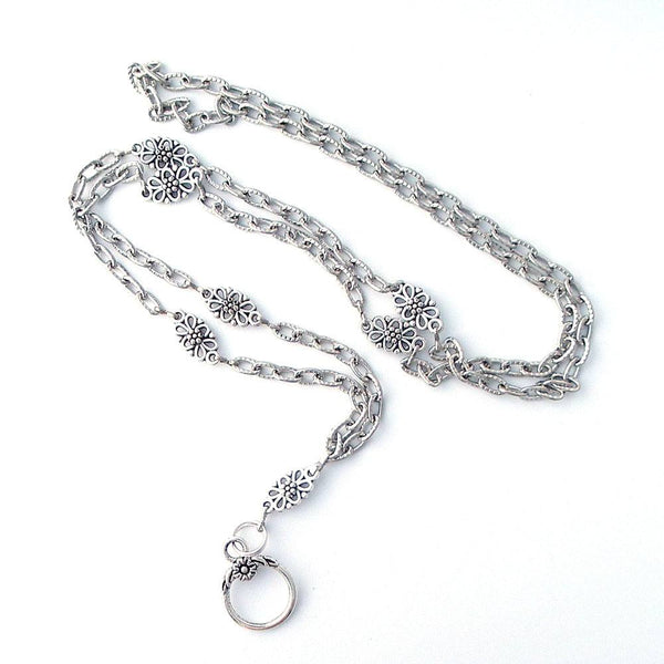 Antiqued Silver Chain Filigree ID Badge Lanyard - Plum Beadacious  - 4