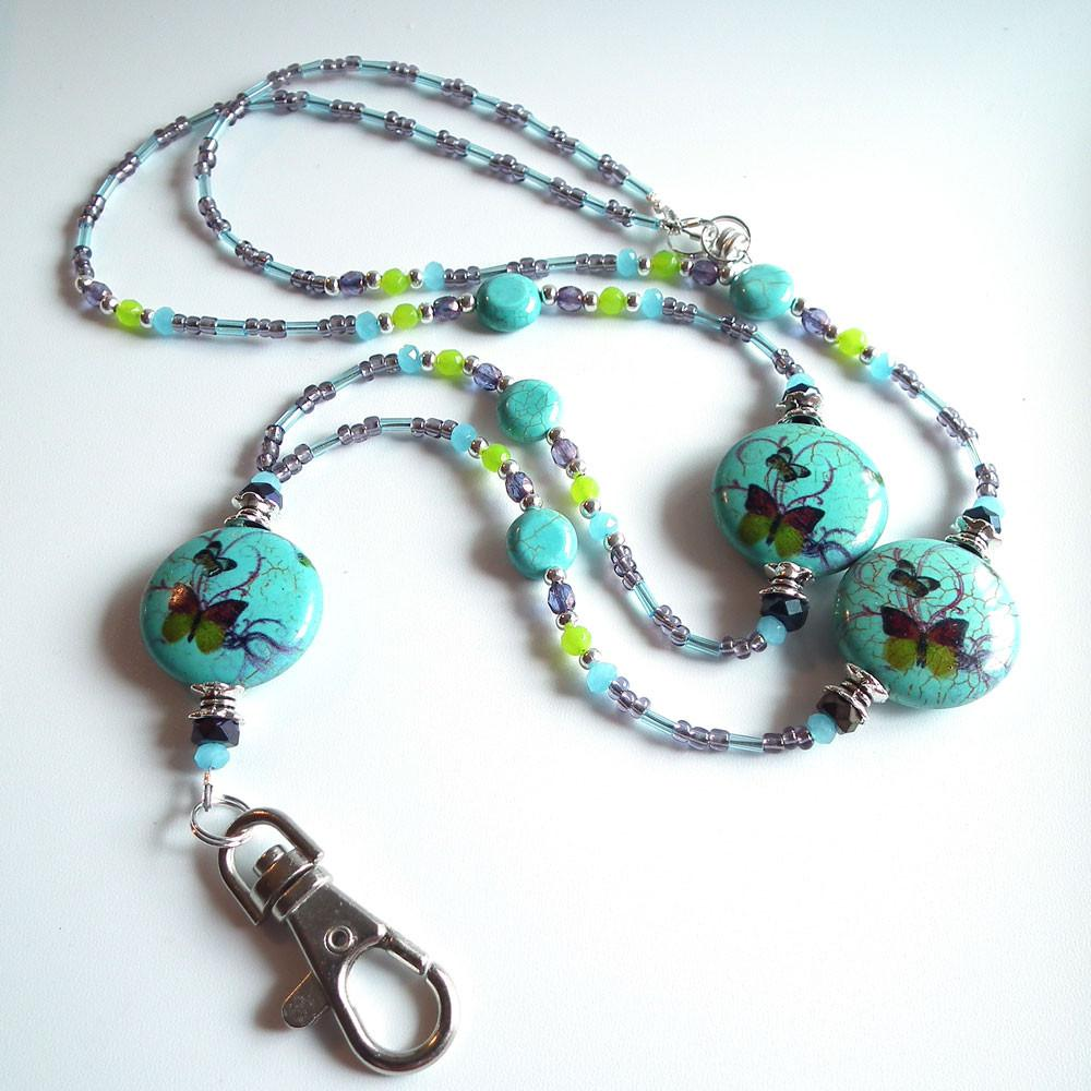Custom Order for Stacy -  Beaded Lanyard - Turquoise Blue Butterfly Design- Purple Green Blue - Plum Beadacious