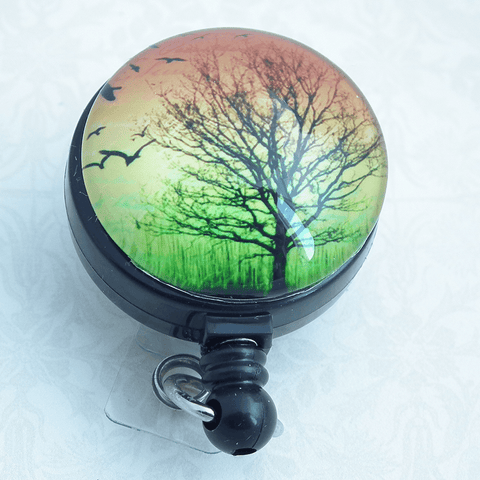 Black Tree Silhouette on Green Gold Orange Background - Retractable ID Badge Reel 247 - Plum Beadacious