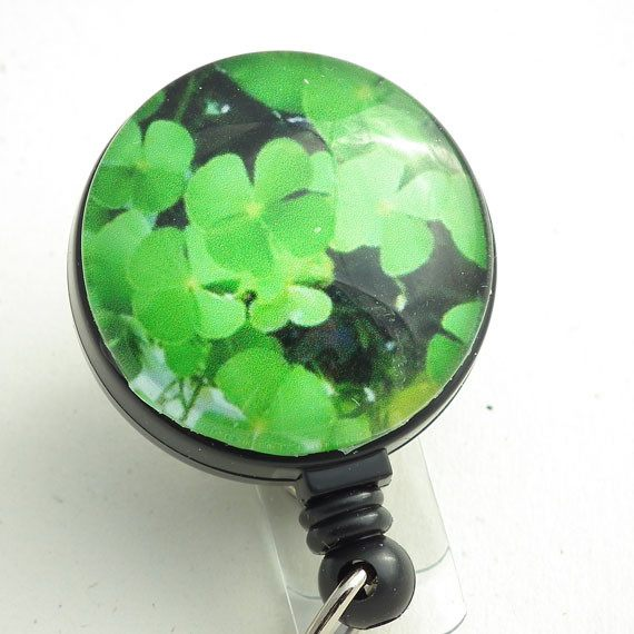 Magnetic Retractable ID Badge Reel Green Clover on Black Reel - Plum Beadacious