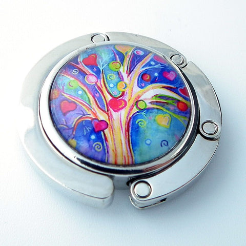 Heart Tree Photo Glass Cabochon, Purse Hanger