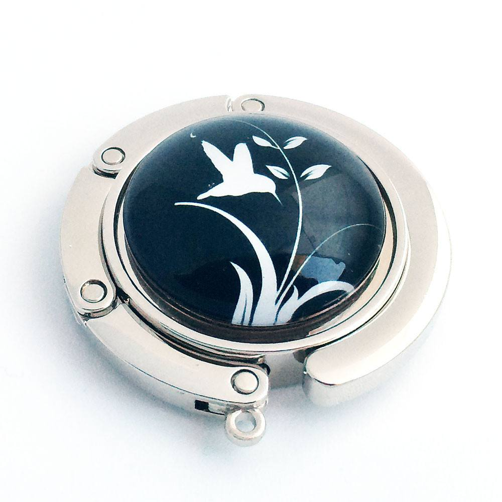White Bird and Leaves on Black Background Photo Glass Cabochon, Purse Hanger - Plum Beadacious