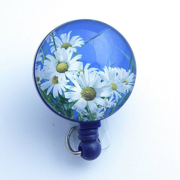 Magnetic Badge Holder - White Daisies on Blue Badge Reel - Flower Badge Reel - Plum Beadacious  - 1