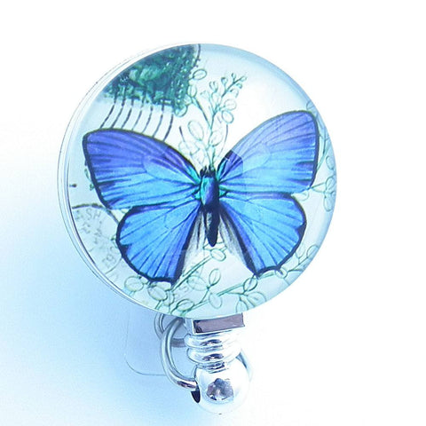 Blue Butterfly on Badge Holder - Retractable ID Badge Reel  211