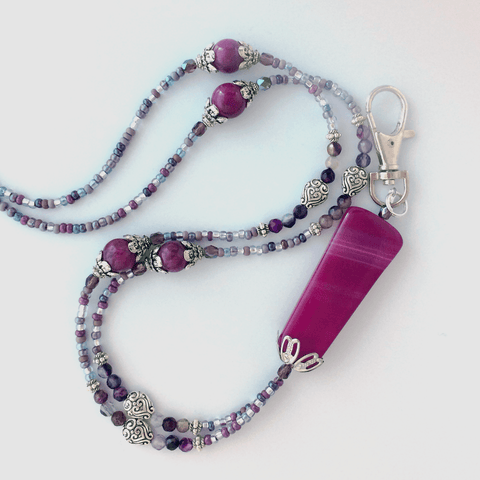 Raspberry Pink Purple Agate Beaded ID Badge Lanyard