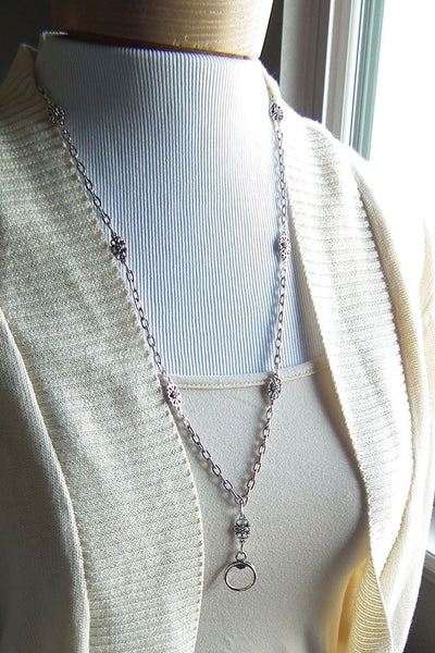 Antiqued Silver Chain Filigree ID Badge Lanyard - Plum Beadacious  - 3