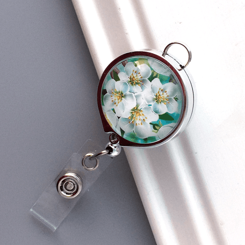 Custom Order for Helene - Bright Colorful Flowers on Gold  Badge Reel Lanyard and White Blossoms on Chrome Lanyard Badge Reel - Plum Beadacious  - 6