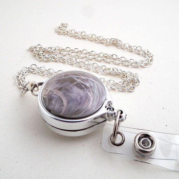 Gray Swirl Button Silver Chain Badge Reel Lanyard with Chrome Badge Reel - Plum Beadacious