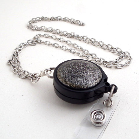 Sparkly Black Button Antiqued Silver Chain Badge Reel Lanyard with Black Badge Reel