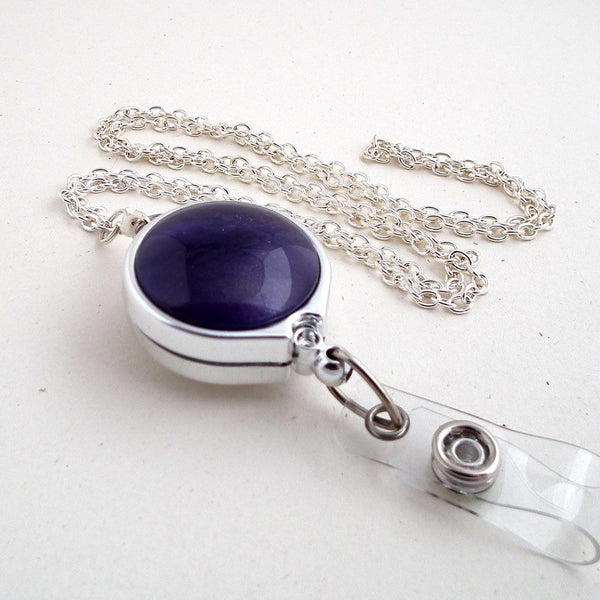 Purple Button Silver Chain Badge Reel Lanyard with Chrome Badge Reel - Plum Beadacious