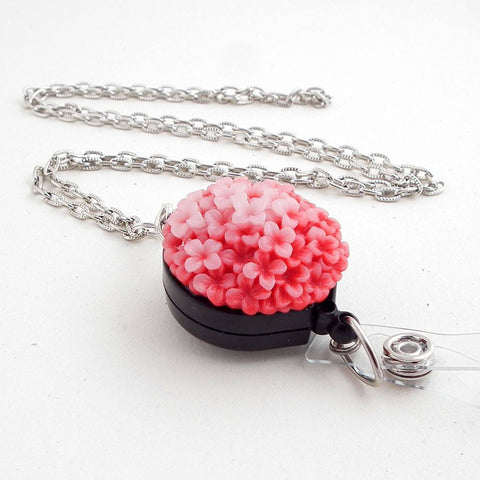 Coral Resin Flowers Cabochon on Antiqued Silver Chain Badge Reel Lanyard with Black - Plum Beadacious