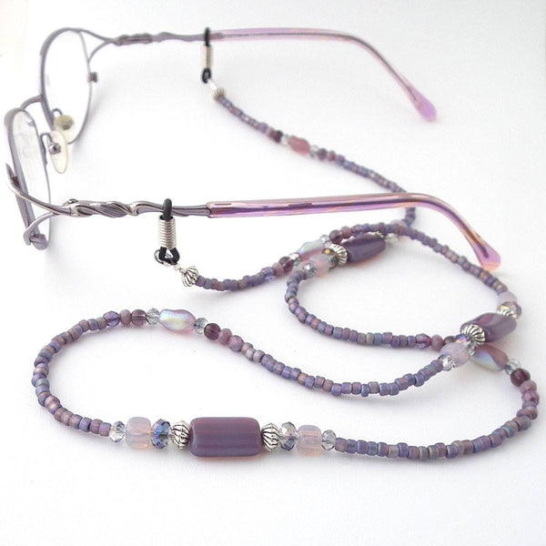 Plum Purple Glass Bead Eyeglass Chain - Reading Glasses Holder for Seamstress, Beader, Knitter - Plum Beadacious  - 2
