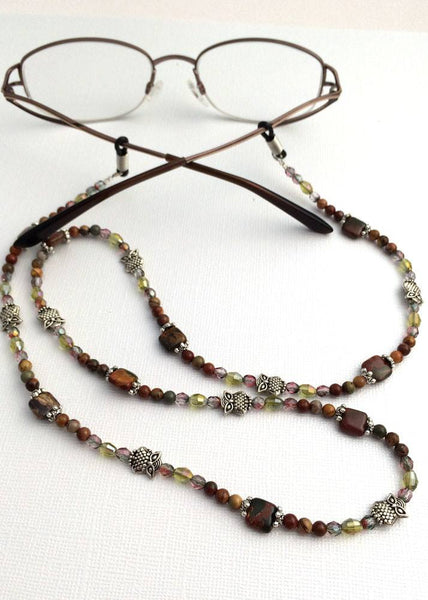 Woodlands Owl Beaded Eyeglass Chain, Antiques Silver Owl Beads, Cherry Creek Jasper, Reading Glasses Holder - Plum Beadacious