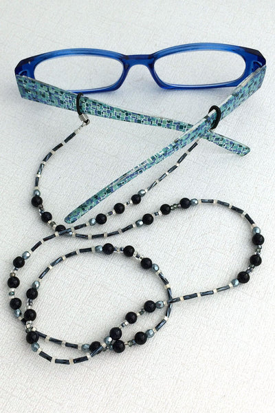 Blue Goldstone Beaded Eyeglass Chain - Basic Reading Glasses Holder for Seamstress, Beader, Knitter - Plum Beadacious