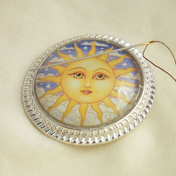Sun Face Needle Minder on Silver Pendant Tray with Magnet - Plum Beadacious
