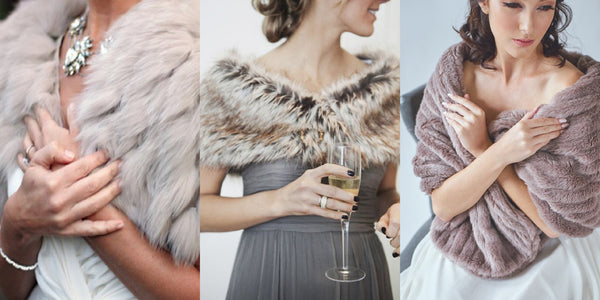 Bride-Worthy Faux Fur Shrugs, Stoles, & Shawls