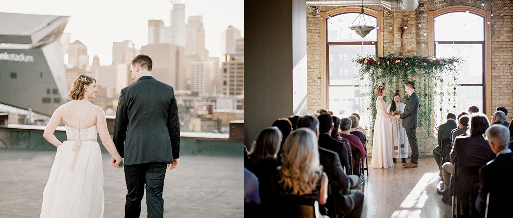 Rooftop wedding photo goals.
